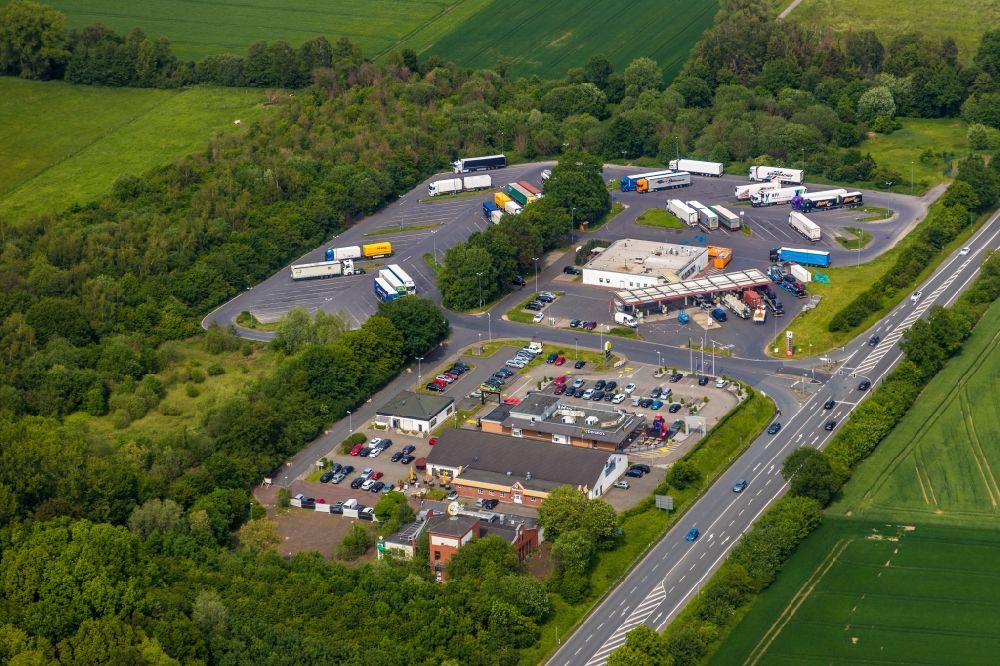 Luftaufnahme Werne Autobahn Raststatte Autohof Werne Am Rand Des