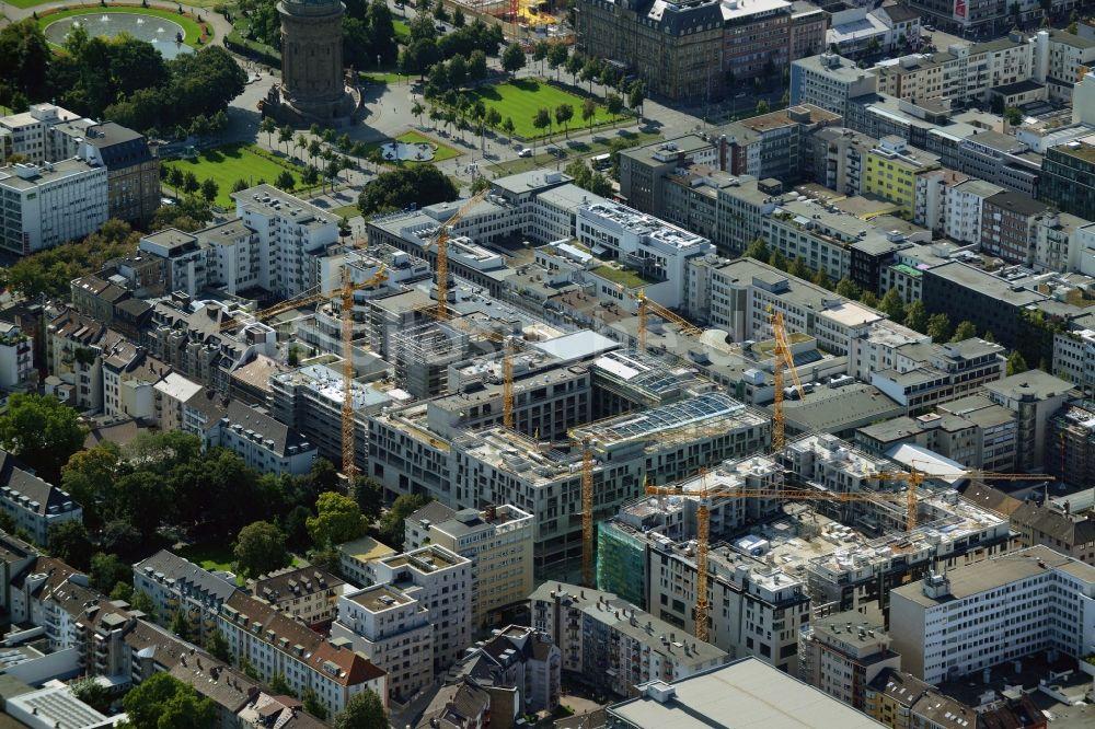 mannheim von oben baustelle zum neubau des einkaufszentrums und stadtquartier q 6 q 7 ber dem. Black Bedroom Furniture Sets. Home Design Ideas