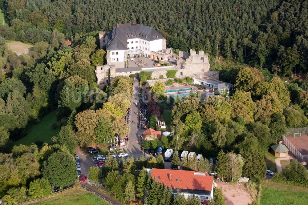 Wattenheim von oben - Gebäude der Jugendherberge Burg Altleiningen ...