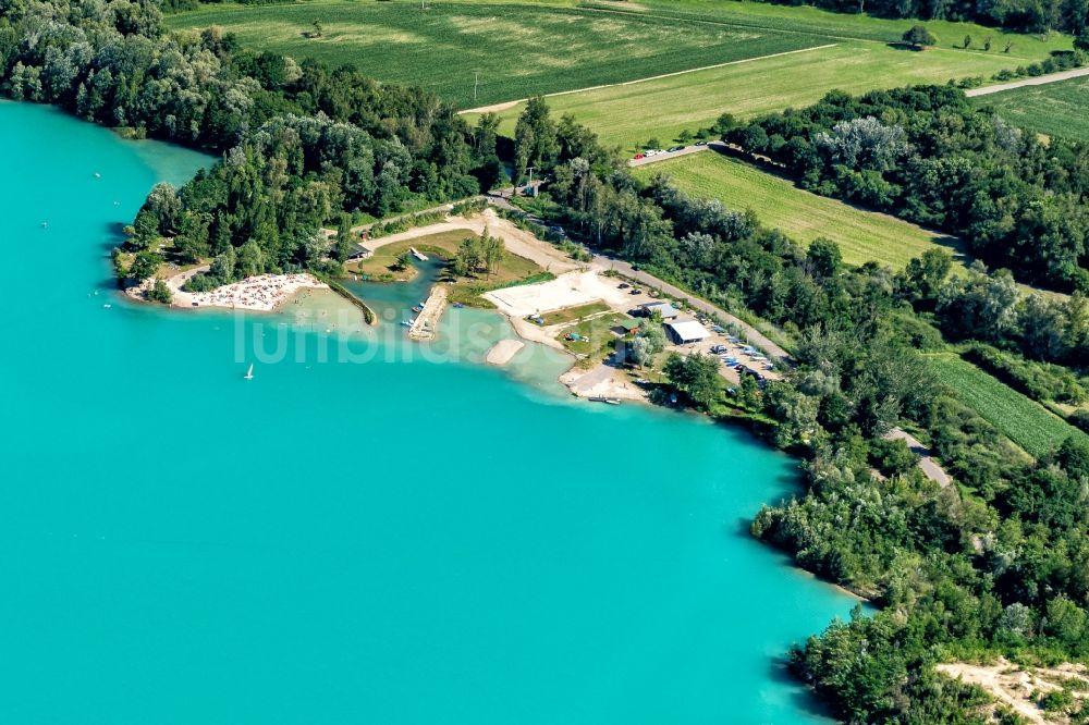 Luftaufnahme Meißenheim - Uferbereiche des Sees Baggersee