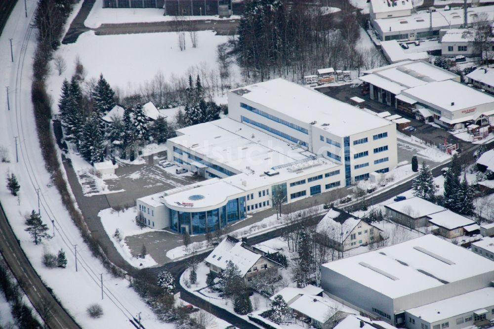 Luftaufnahme Karlsbad - Winterluftbild Industrie- und